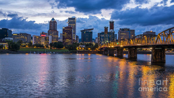 Photograph - Portland Skyline Along Willamette River by Bryan Mullennix