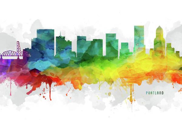 Portland Wall Art - Digital Art - Portland Skyline Mmr-usorpo05 by Aged Pixel