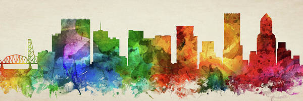 Portland Wall Art - Digital Art - Portland Skyline Panorama Usorpo-pa03 by Aged Pixel