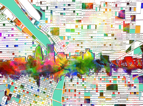 Portland Wall Art - Painting - Portland Skyline Watercolor 2 by Bekim M