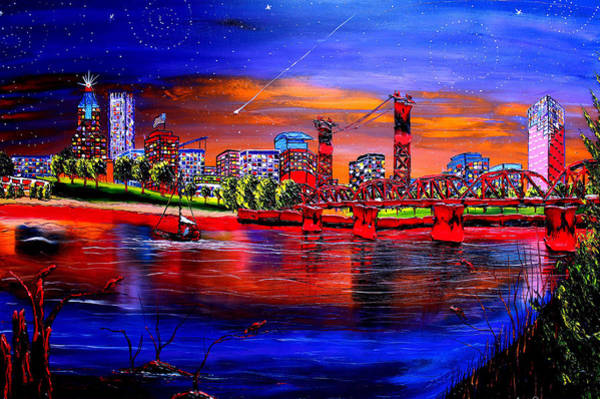Wall Art - Painting - Portland Starry Night #8 by Dunbar's Modern Art
