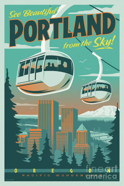 Seattle Digital Art - Portland Poster - Tram Retro Travel by Jim Zahniser