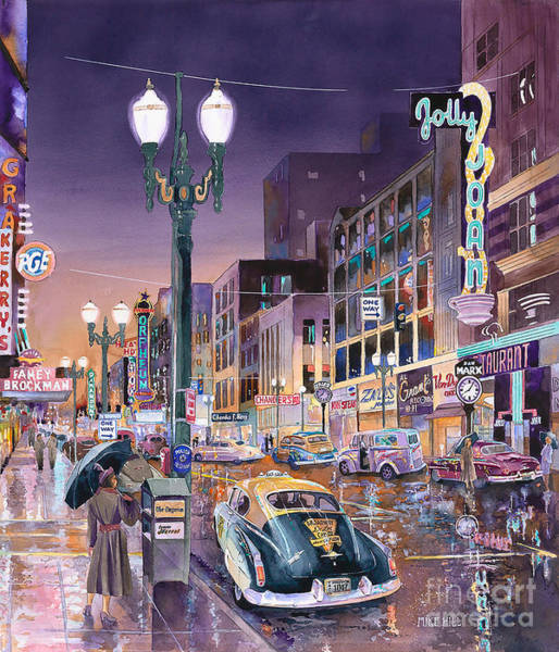 Shopping Painting - Portland's Jolly Joans by Mike Hill