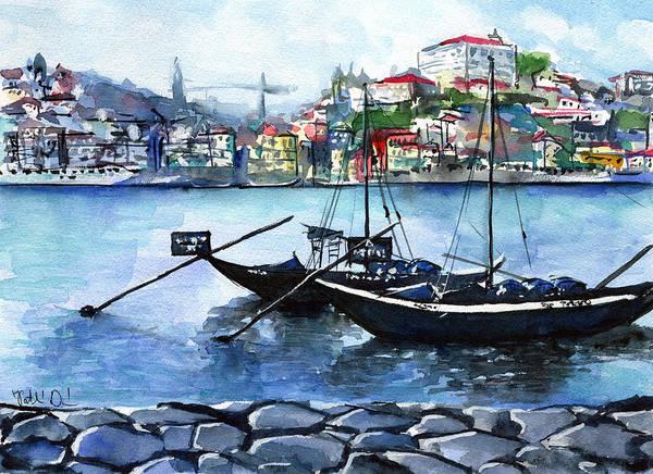 Wine Barrel Wall Art - Painting - Porto Rabelo Boats by Dora Hathazi Mendes