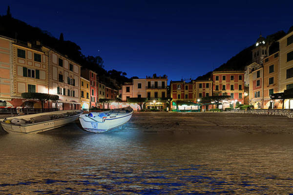 Photograph - Portofino Bay By Night IIi- Piazzetta Di Portofino By Night by Enrico Pelos