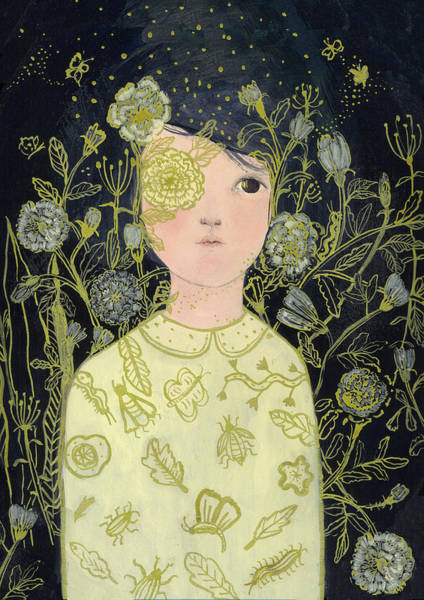 Flower Girl Painting - Portrait At Night by Paola Zakimi