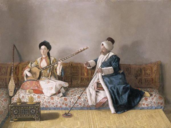Jean Etienne Liotard Wall Art - Painting - Portrait De M. Levett Et Mlle Glavani Assis Sur Un Divan by Jean - Etienne Liotard