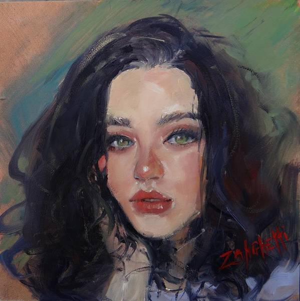 Demonstration Wall Art - Painting - Portrait Demo Two by Laura Lee Zanghetti