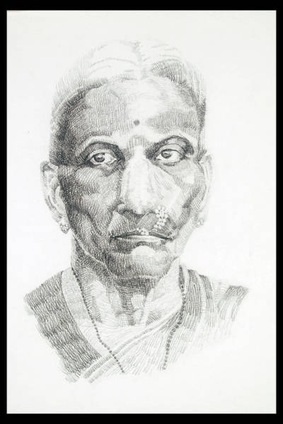 Restaurant Decor Drawing - Portrait Drawing Of A Great Grand Parent A Brahmin Lady With A Nosering by Makarand Joshi