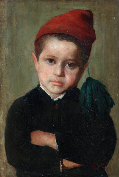 Hunger Painting - Portrait Of A Boy Wearing A Red Cap by Gerolamo Induno