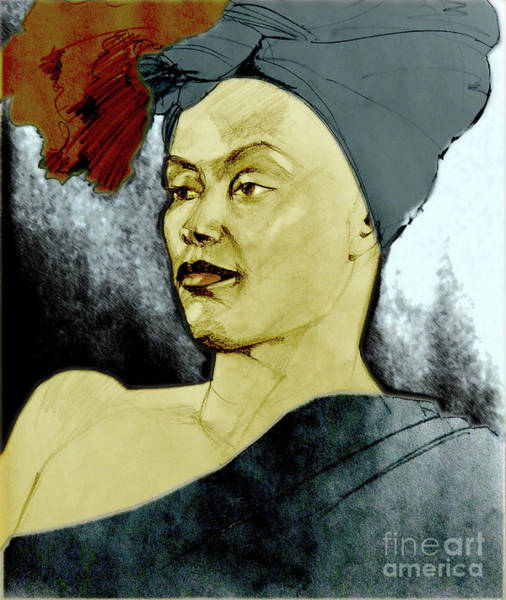 Mixed Media - Tinted Portrait Drawing Of A Bronx Beauty by Greta Corens