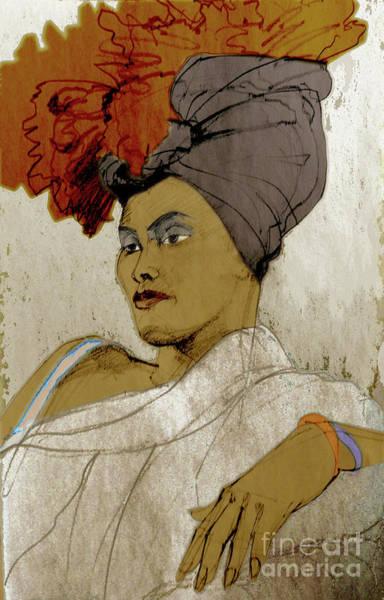 Mixed Media - Portrait Of A Caribbean Beauty by Greta Corens