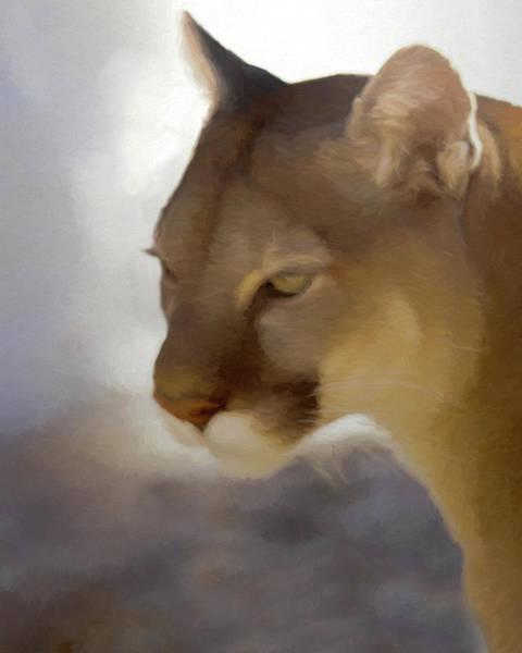 Mountain Lion Digital Art - Portrait Of A Cougar by Ernie Echols