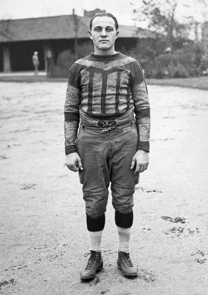 Photograph - Portrait Of A Football Player by Underwood Archives