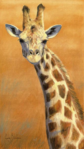 Wall Art - Painting - Portrait Of A Giraffe by Lucie Bilodeau