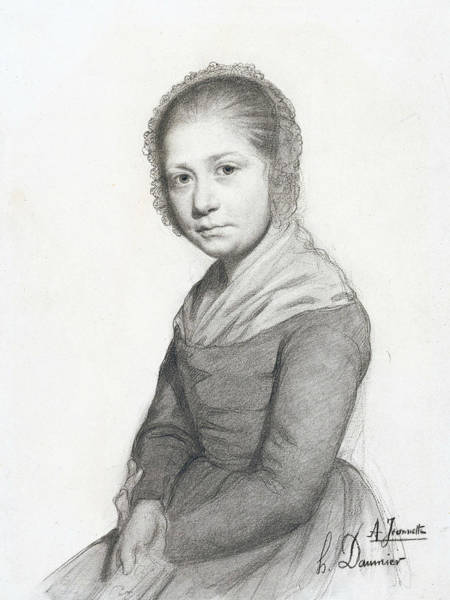 French Artist Drawing - Portrait Of A Girl by Honore Daumier
