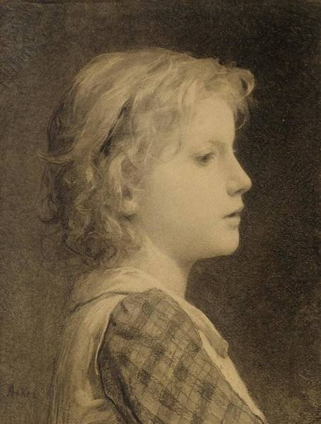Painting - Portrait Of A Girl With Blonde Hair by Albert Anker
