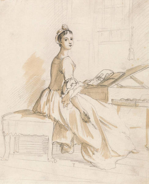 Drawing - Portrait Of A Lady At A Drawing Table by Paul Sandby