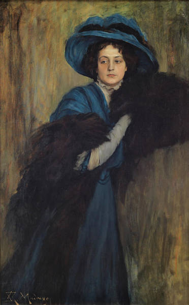 Boa Painting - Portrait Of A Lady In Blue by Mountain Dreams