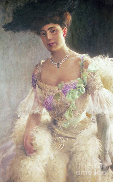 Wall Art - Painting - Portrait Of A Lady In Evening Dress, 1903 by Hugo-Elias Bachmanssen