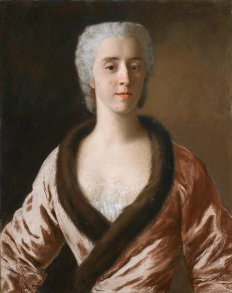 Jean Etienne Liotard Wall Art - Drawing - Portrait Of A Lady by Jean-Etienne Liotard