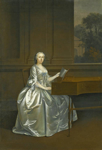 Arthurs Seat Painting - Portrait Of A Lady Seated At A Harpsichord Possibly Lucy Duchess Of St. Albans by Arthur Devis