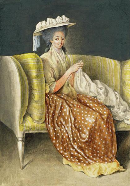 Painting - Portrait Of A Lady Sewing by Daniel Nikolaus Chodowiecki