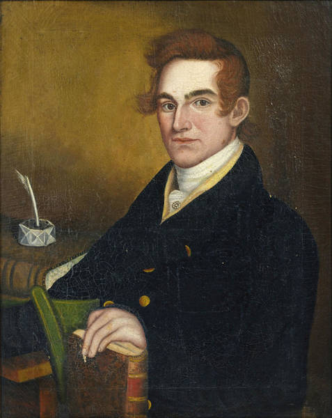 Inkwell Painting - Portrait Of A Learned Gentleman With Pen And Inkwell And Book by Attributed to Micah Williams