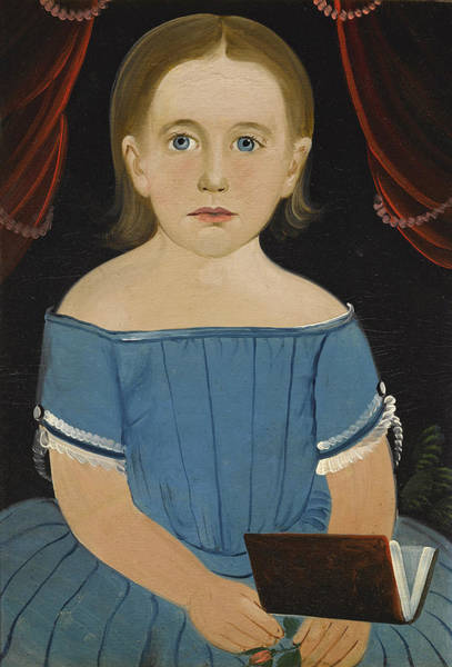 Wall Art - Painting - Portrait Of A Little Girl In A Blue Dress by William Matthew Prior