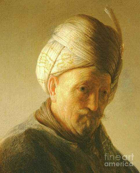 Mustache Painting - Portrait Of A Man In A Turban by Rembrandt