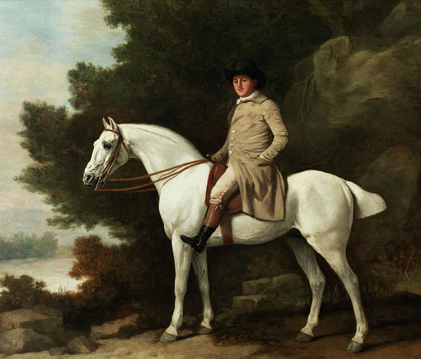 Horseshoes Painting - Portrait Of A Man On Horseback by George Stubbs