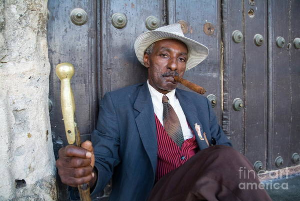 Wall Art - Photograph - Portrait Of A Man Wearing A 1930s-style Suit And Smoking A Cigar In Havana by Sami Sarkis