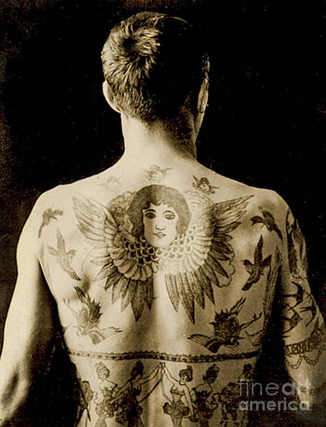 Wing Back Wall Art - Photograph -  Portrait Of A Man With An Elaborate Back Piece Tattoo by English School