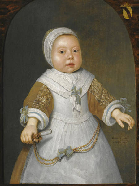 Cuyp Wall Art - Painting - Portrait Of A One-year-old Girl Of The Van Der Burch Family Three-quarter Length by Aelbert Cuyp