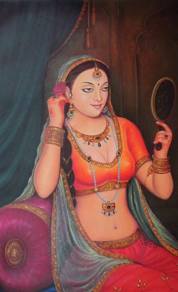 Wall Art - Painting - Portrait Of A Rajasthani Queen Maharani Watching Mirror Indian Traditional Canvas Oil Painting by A K Mundra