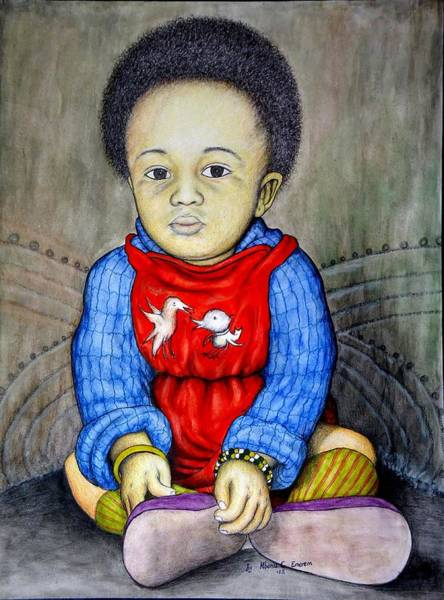 Recycling Painting - Portrait Of A Seated Baby #2 by Mbonu Emerem