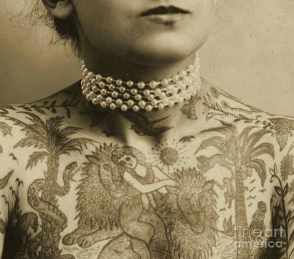 Tats Wall Art - Photograph - Portrait Of A Tattooed Woman, 1905 by English School