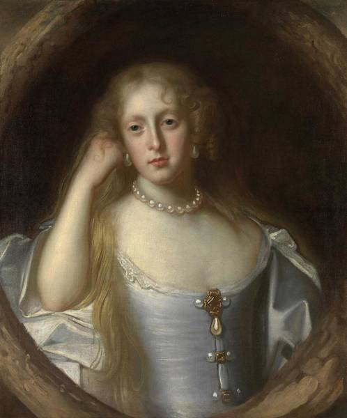 John Michael Wright Wall Art - Painting - Portrait Of A Woman In A Pearl Necklace by John Michael