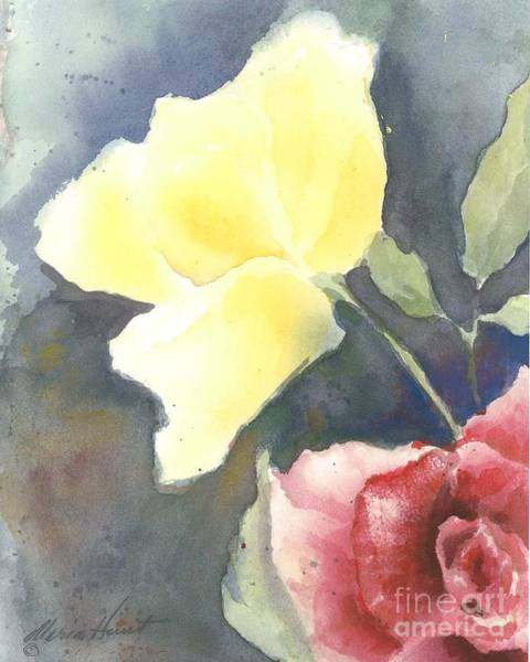 Single Rose Painting - Portrait Of A Yellow Rose by Maria Hunt
