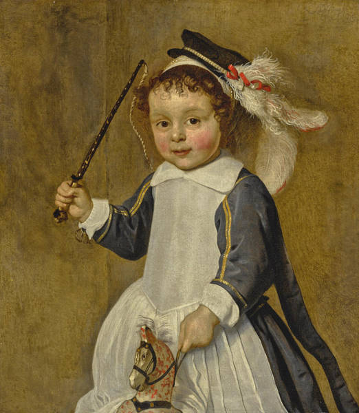 Wall Art - Painting - Portrait Of A Young Boy On A Hobby Horse, Three-quarter Length by Ludolph de Jongh