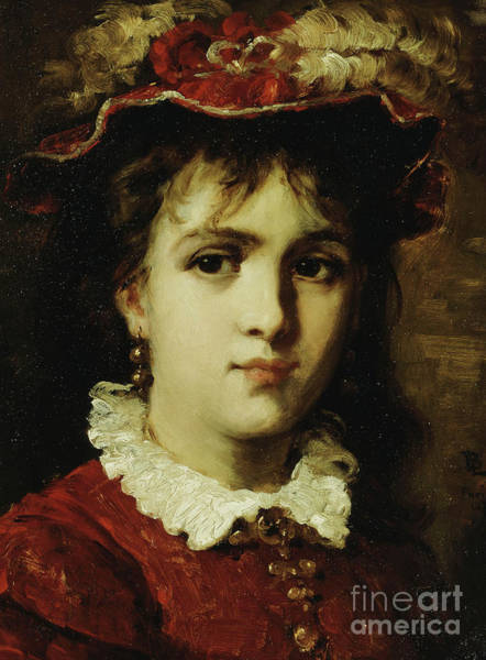 Wall Art - Painting - Portrait Of A Young Girl, 1876 by Leon Joseph Florentin Bonnat