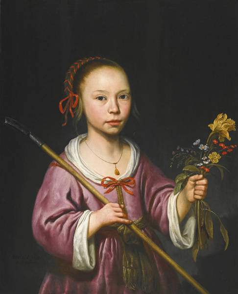 Cuyp Wall Art - Painting - Portrait Of A Young Girl As A Shepherdess Holding A Sprig Of Flowers by Aelbert Cuyp