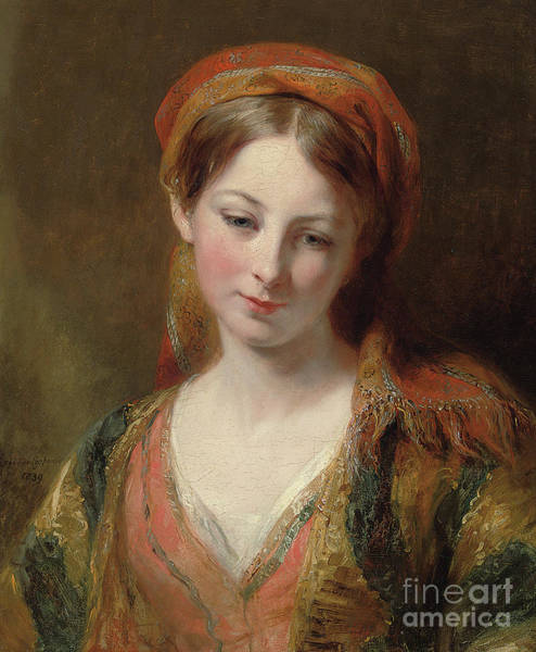Wall Art - Painting - Portrait Of A Young Girl by Margaret Sarah Carpenter