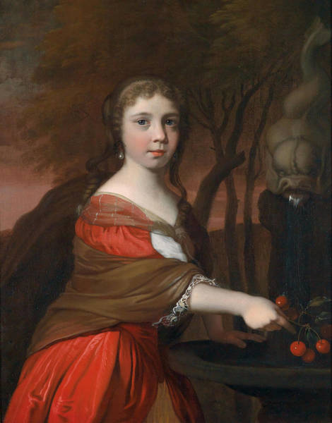 Wall Art - Painting - Portrait Of A Young Girl With Cherries by Barend Graat