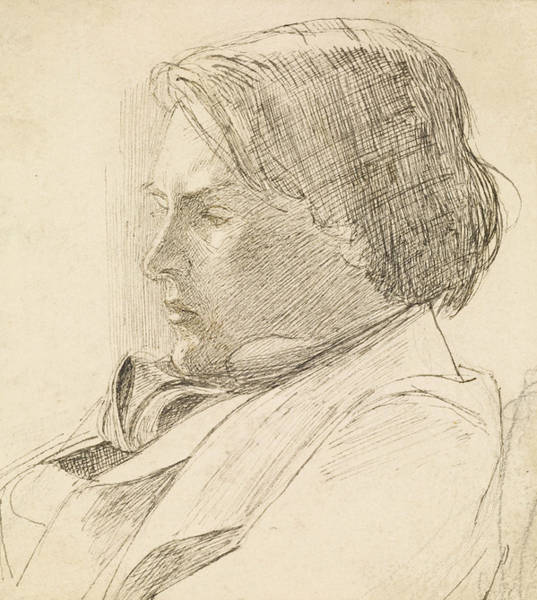 Drawing - Portrait Of A Young Man by Dante Gabriel Rossetti
