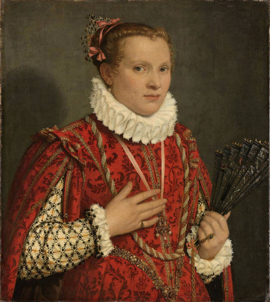 Wall Art - Painting - Portrait Of A Young Woman by Giovanni Battista Moroni
