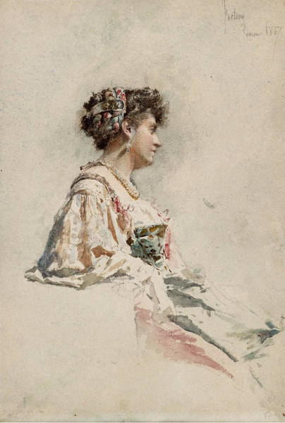 Impressionistic Drawing - Portrait Of A Young Woman by Mariano Fortuny