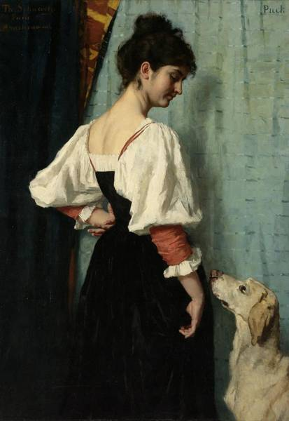 Wall Art - Painting - Portrait Of A Young Woman, With Puck The Dog by Therese Schwartze