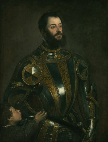 Titian Painting - Portrait Of Alfonso D'avalos, Marquis Of Vasto, In Armor With A Page by Titian