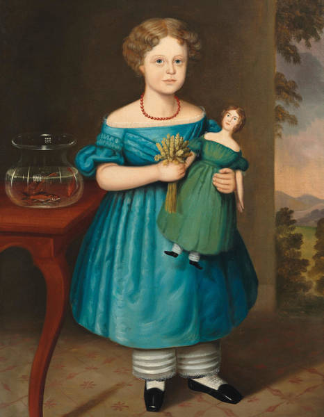 Blue Dress Painting - Portrait Of Amy Philpot In A Blue Dress With Doll And Goldfish by Joseph Whiting Stock